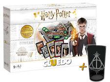 """Cluedo Harry Potter Juego de Mesa Juego + Premium Vidrio 500ml """"Deathly Hallows"""""""