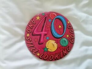 Birthday badge large 40th pin and stand up