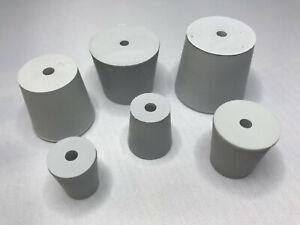 Laborstopfen Gummistopfen mit 5 - 7 - 9 mm Loch  konisch Stopfen grau Kautschuk