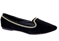 New Black faux leather suede Gold chain Ballet FLAT Slide moccasin loafer sz 5.5