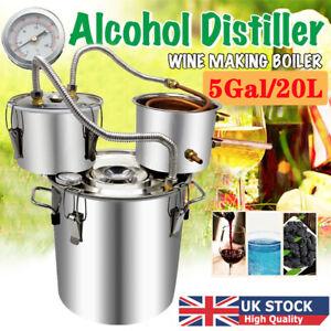 5 Gal Moonshine Still Spirits Kit Water Alcohol Distiller 3 Pot DIY Home Brewing