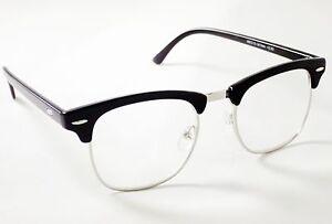 DESIGNER READING GLASSES Black Clubmaster Style Retro +1.25 +1.5 +2 +2.5 +3 +3.5