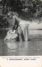 SIERRA LEONE, AFRICA ~ NATIVE WOMAN WASHING CLOTHES ~ c. 1904-14