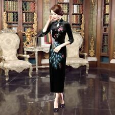Luxurious Velvet Black with Peacock Chinese Long Dress Cheongsam Qipao lcdress59