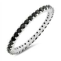 Sterling Silver 925 STACKABLE ETERNITY BLACK CZ BAND DESIGN RING 2MM SIZES 4-12