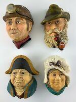 Lot of 4 Bossons Bosson Heads England Chalkware Vintage Hanging Wall Art U881