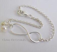 925 Sterling Silver Infinity Karma Bracelet w Fresh Water Pearl & Heart Charm