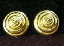 JADED (est. 1984) 21 Kt Gold Plated Bronze ETRUSCAN REVIVAL Clip Earrings, OOP