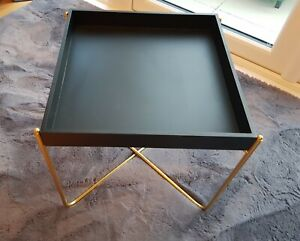 TRAY TABLE Side Coffee Table Furniture Living Room Black Top GOLD Metal Frame