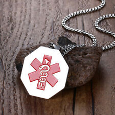 Men Silver Medical Alert Charm Necklace Stainless Steel Medical Id Tag