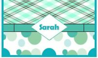 Green Plaid polka dots  personalized name checkbook cover STOCKING STUFFER