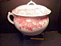 Johnson Bros Antique Chamber Pot & Lid Hop Pink Pattern Semi Porcelain England