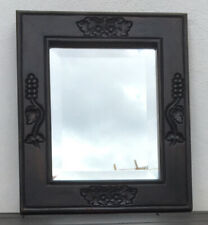 Wall Hanging Mirror With Carved Wooden Frame & Bevelled Edge Glass