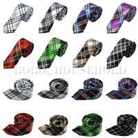 Men's Fashion Checked Neck Tie Wedding Scottish Plaid Necktie Narrow Slim  US
