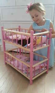 NEW WOODEN BUNK BED COT CRIB DOLLS TOY WITH BEDDING SET SALE 20%OFF