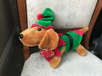 "KEEL DOUGGIE THE ELF SAUSAGE DOG SOFT TOY PLUSH 12"" NEW TAGS"