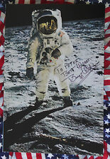 PICTURE OF APOLLO 11 ASTRONAUT BUZZ ALDRIN MOON WALK SIGNED AUTOGRAPH LIFE COA