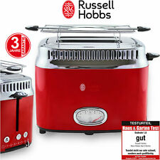 Russell Hobbs Toaster 2Schlitz Toast Automat Edelstahl Rot Retro Brötchenaufsatz