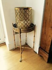 Lovely Ornate Indian Gold Side Table with Mirrored Top Shabby Chic