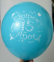 24 QUINCEANERA  GLOBOS PARTY FAVOR DECORATION BLUE 15 ANOS BALLOONS RECUERDOS