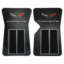 2 PIECE BLACK RUBBER SEMI CARPET FRONT FLOOR MATS FOR CORVETTE C3 68-82