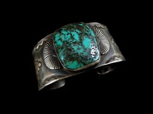 Antique Navajo Bracelet - Coin Silver and Turquoise