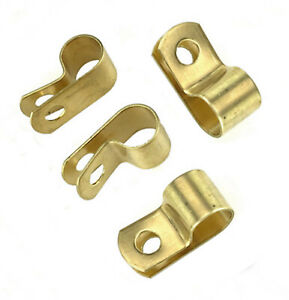 Pipe or Cable P clips, Brass, 10mm diameter, screw fixing type   BRC2