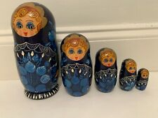 """8""""H Blue Set of 5 Piece Hand Painted Russian Nesting Dolls Made in Russia"""