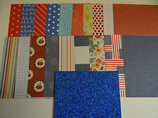 4TH OF JULY SCRAPBOOK PAPER SET 6X6 LOT RED WHITE BLUE STARS STRIPES FLAGS