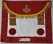Masonic Scottish Master Mason Apron CRIMSON RED Golden G & Fringe