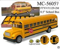 large Yellow School Bus Diecast Model pull back action Light & Sound 8.5 inch