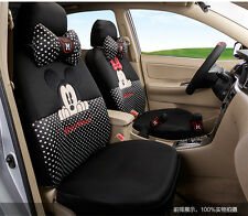 ** 18 Piece Black and White Polka Dot Mickey and Minnie Mouse Car Seat Covers **