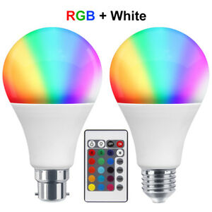 B22 15W Multi Colour Changing RGB LED Light Bulb IR Remote Controlled Magic Lamp