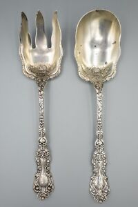 Gorham Imperial Chrysanthemum Sterling Silver Salad Serving Set Fork Spoon 10""