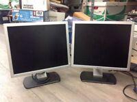 """2 Dell 17"""" LCD Desktop PC Monitors SE177FPf VGA"""