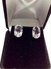 Women's 14K White Gold 4.80 Carats Oval ligh Purple Amethyst Stud Earrings