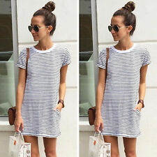 AU Women's Summer Casual Short Mini Dress Tops T-shirt Holiday Beach OL Sundress