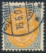 Denmark Scott 52b/AFA 31C, 100ø grey/yellow Bicolour, wmk Crown III, F used