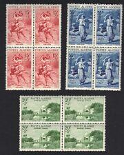 ALGERIA 1957 SEMI POSTAL SET OF 3 IN BLOCKS of 4 Mi 369-71 NEVER HINGED