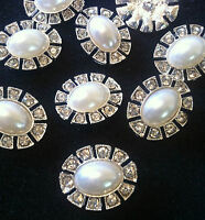 4 x 23mm Oval Button White Pearl Rhinestone Crystal Designer Silver Shank Back