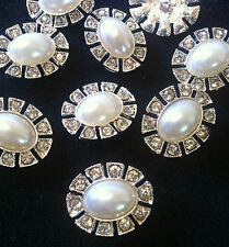 4 x 23mm Oval Button White Pearl Rhinestone Crystal Designer Silver Shank Back