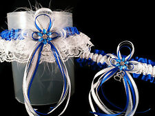 DELUXE Set ROYAL BLUE Silver White GARTER + TOSS Feathers Prom Wedding Bridal