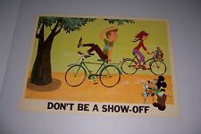"""1966 DISNEY BICYCLE SAFETY DON'T BE A SHOW OFF 18""""X13"""" 102-D MICKEY MOUSE"""