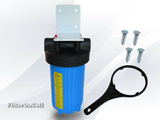"10"" Big Blue Water Filter Housing w/ Bracket, Screw & Wrench 1"" ports"