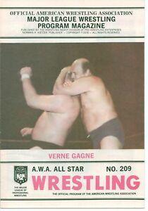 VINTAGE PROFESSIONAL 1978 A.W.A. WRESTLING PROGRAM #209 VERNE GAGNE