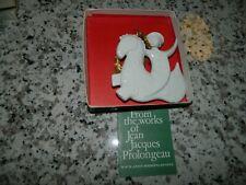 Vtg.1972 Haviland White Porcelain Christmas Ornament Noel Prancing Horse & Child