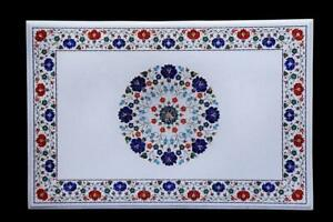 3'x2' Italian Marble Table Top Lapis Carnelian Fine Floral Inlay With Stand W609