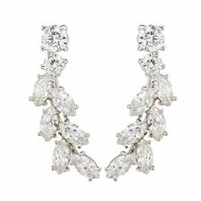 Sweep Up Cz Crystal Ear Vine Wrap Pin Ear Cuffs Climbers Hook Earrings (Silver-P