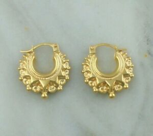 9ct Gold Victorian Style Spiked Round Creole Hoop Earrings 17mm | Small Size