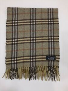 Genuine Burberrys Classic Check Green 100% Cashmere vintage winter scarf scarve